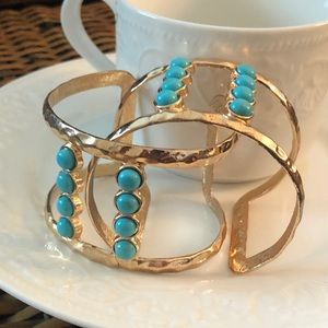 Lot of Two Copper Cuffs with Turquoise Beads